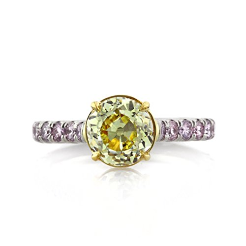 Fancy Yellow Round Diamond - Mark Broumand 2.90ct Fancy Intense Yellow Old European Round Diamond Engagement Ring