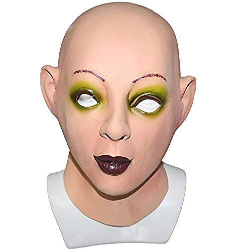 Realistic Female Woman Face Sissy Latex Mask Scarlet Bald Human Face Party Fancy Dress Costume Mask -