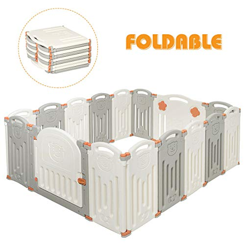 Costzon Baby Playpen, 16-Panel Foldable Kids Safety Activity Center Playard w/Locking Gate, Non-Slip Rubber Mats, Adjustable Shape, Portable Design for Indoor Outdoor Use (Beige + Gray, 16-Panel)