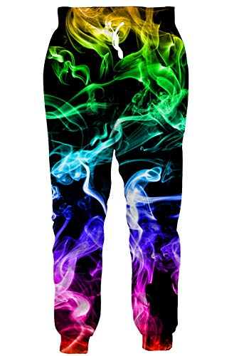Audlt Youth Girl Boy Sports Jogger Flame Fog Smoke Colorful Pants Loose Sweatpants Trouser Elastic Drawstring Tracksuit XXL