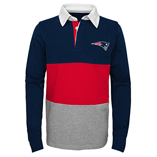 Outerstuff NFL New England Patriots Youth Boys State of Mind Long Sleeve Rugby Top Dark Navy, Youth X-Large(18)