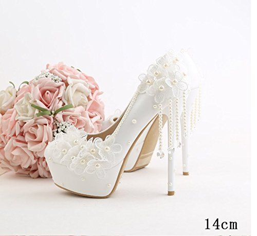 Tassel Wedding Heel VIVIOO Lace Super Shoes 5 Prom Flowers Bridal Fine Sandals Flowers Bridal Beautiful Fashion Slender Shoe White 5 Heel Pearl w07Uwq