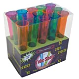 Party Essentials 15-Count Hard Plastic 1.5 Ounce Tube Shots, Assorted Neon