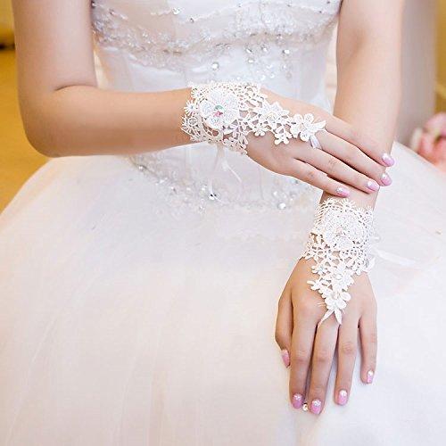 Dobelove Women's Short Lace Fingerless Wedding Gloves