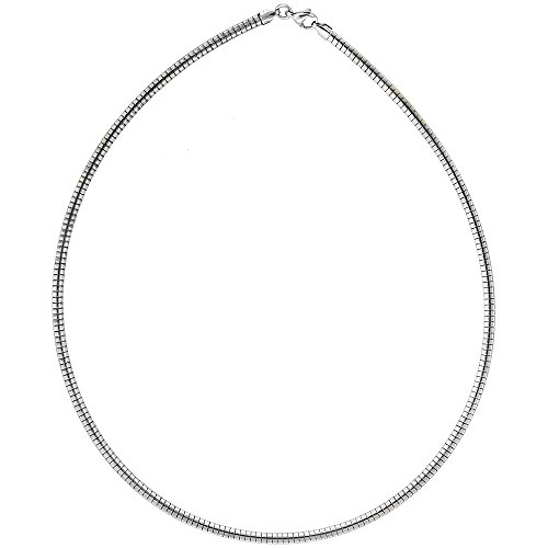 3 Mm Omega Necklace (Stainless Steel Omega Necklace for Women 3mm, 16 inch)