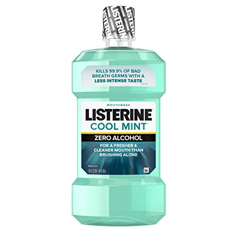 Listerine Zero Alcohol Mouthwash, Less Intense Alcohol-Free Oral Care Formula for Bad Breath, Cool Mint Flavor, 1 l (Best Listerine For Braces)