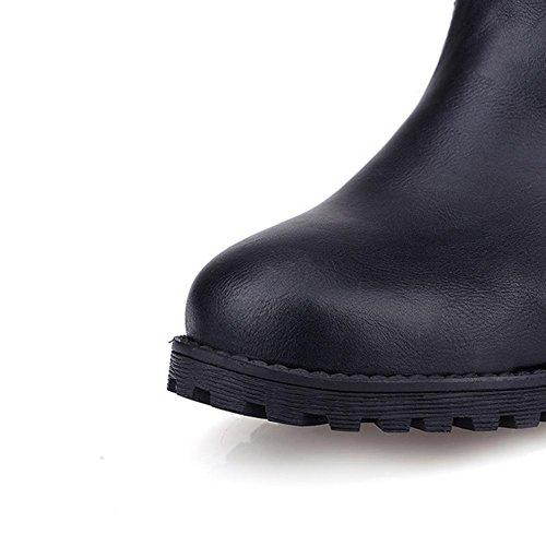 H HQuattro stagioni donne (nero. Marrone. Giallo) fibbia cintura rivetto basso tacco alto aiuto gomma resistente all'usura Slip , black , 42