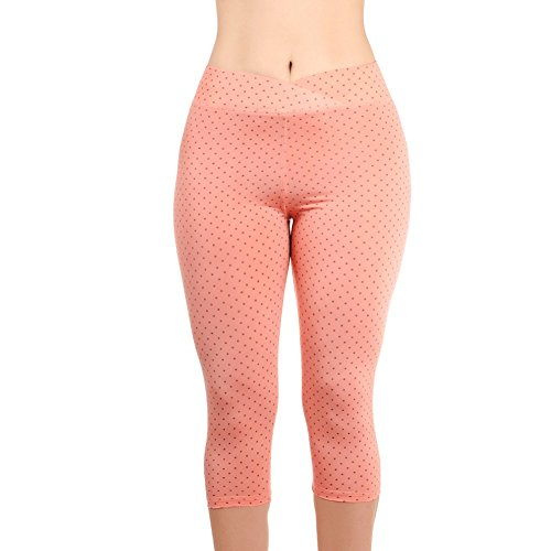 Dot Capri Set Clothes (Metro Outfit Women's Printed Yoga Capri Leggings- 4 Way Stretch Dry-Fit Workout Pants (Orange Dot, Extra Large))