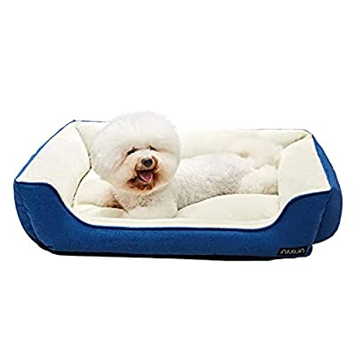 ANWA Dog Bed Pet Bolster Machine Washable Dog Bed with Premium Plush for Medium Dogs