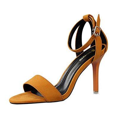 LFNLYX Las mujeres sandalias de verano otros Fleece Stiletto talón Casual Otros Rosa Negro Gris rojo Camel Otros Pink