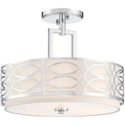 """Kira Home Sienna 15"""" 3-Light Semi Flush Mount Ceiling Light + Glass Diffuser, Chrome Finish"""