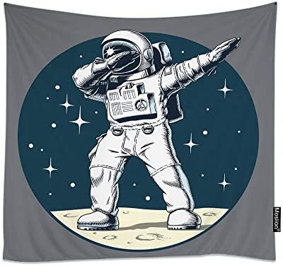 Moslion Space Tapestry Funny Dabbing Astronaut On Universe Planet Moon with Stars Polka Dot Wall Tapestries for Bedroom Large Home Decorative Polyester Tapestries 60×90 Inch