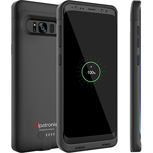 Galaxy S8 Battery Case, Alpatronix BX430 (5.8-inch) 4500mAh Slim External Protective Rechargeable Portable Charging Case Charger Cover for Samsung Galaxy S8 Juice Bank Power Pack [Android 7+] - Black