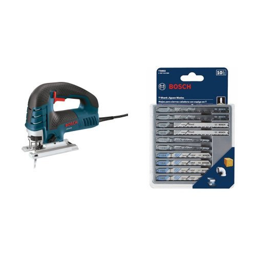 Bosch JS470E 120-Volt 7-Amp Top-Handle Jigsaw with 10-Piece Assorted T-Shank Jig Saw Blade Set
