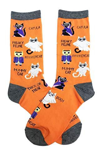 Freaky Feline Frankencat Catula Trick or Treating Cats in Costume Women's Novelty Halloween Crew Socks -