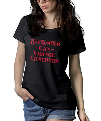(Woman Black Stranger Vintage Shirt for Women - Things Merchandise | Summer Change, L)