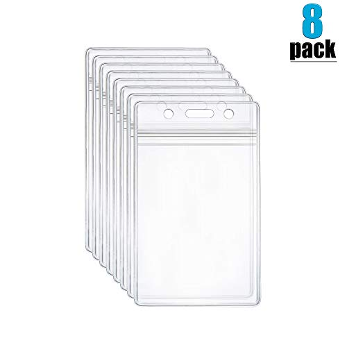 8 Pack VerticalID Card Badge Holder Clear Plastic Holder Vinyl PVC with Waterproof Type Resealable Zip