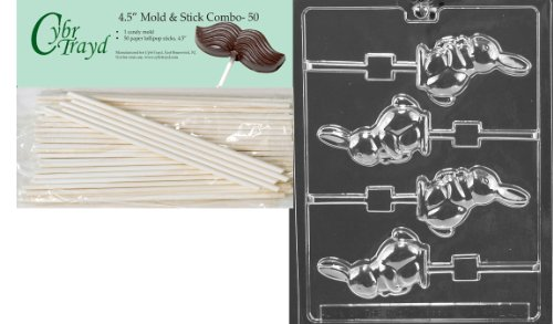 Cybrtrayd Bunny with Carrot Lolly Easter Chocolate Candy Mold with 50 4.5-Inch Lollipop Sticks -
