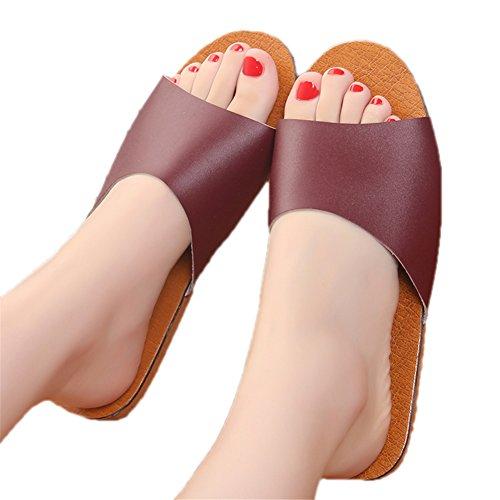 Rouge Floor for TELLW Spring Women Men Corium Leather Smelly Wooden Cowhide Anti Slippers Fonc¨¦ Summer Autumn W nzraxAPn