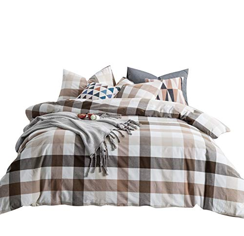 SUSYBAO 3 Pieces Duvet Cover Set 100% Natural Washed Cotton King Size 1 Duvet Cover 2 Pillowcases Luxury Quality Ultra Soft Comfortable Breathable Khaki Checkered Plaid Print Bedding with Zipper Ties