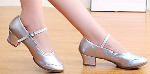 Strap Dance Tanzschuhe Modern Querbügel Schuhe Tanzschuhe Gürtelschnalle VECJUNIA Fitness Damen Ankle Silber Spitzschuh xvqInaTZwY