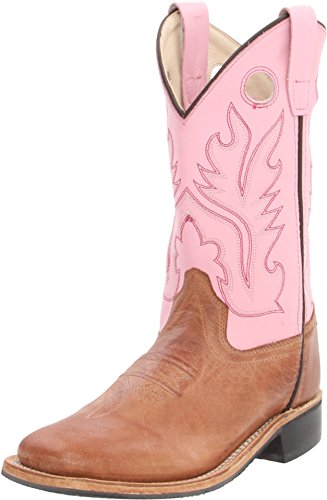 Old West Girls' Cowgirl Boot Square Toe Tan 2 D(M) US -
