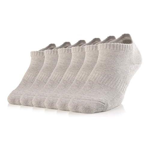 SOXTOWN 6 Pairs Women's Super Soft Comfy No Show Low Cut Cotton Socks (light grey)