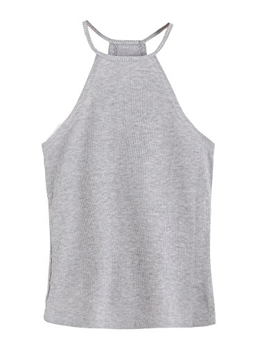 ROMWE Women's Summer Spaghetti Strap Ribbed Cami Tank Top Grey one-size