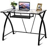 Tangkula Computer Desk Sturdy Modern Contemporary Desk Combining Glass Top and Metal Frame with Sliding Keyboard Tray Easy Assembly Multi-Function Desk Study Home Office Writing Table