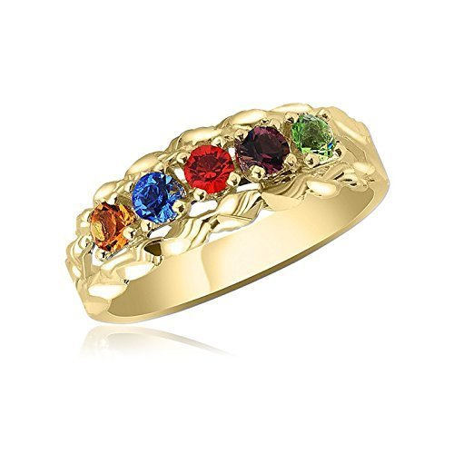 10K Yellow Gold Intricate Ring 5 Birthstone Family Ring