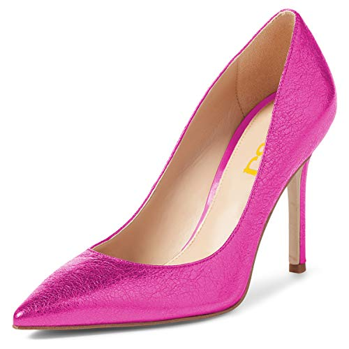 Heels FSJ Eveneing Toe 15 Pumps Dress Women Stiletto US 4 High Magenta Shoes Slip Basic Size On Closed Party Ar4AtqY