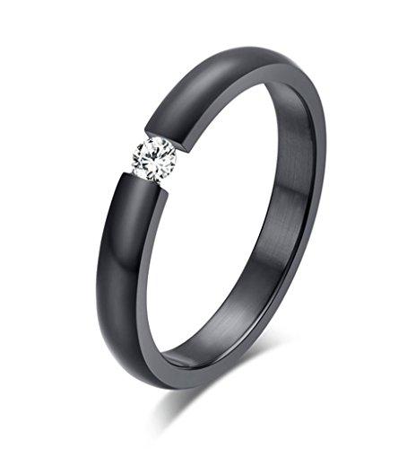 Women's Stainless Steel Single CZ Cubic Zirconia Ring for Wedding Engagement,Black,3mm,Size 7 (Diamond Skull Engagement Ring)