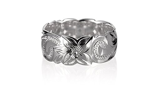 Tropical USA Sterling Silver 8mm Scalloped Queen Scroll Ring Size 9 ()