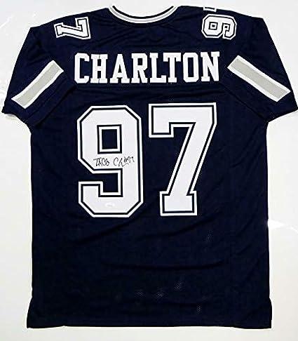 pretty nice 92f50 018c8 Taco Charlton Signed Jersey - Blue Pro Style W Auth *Black ...