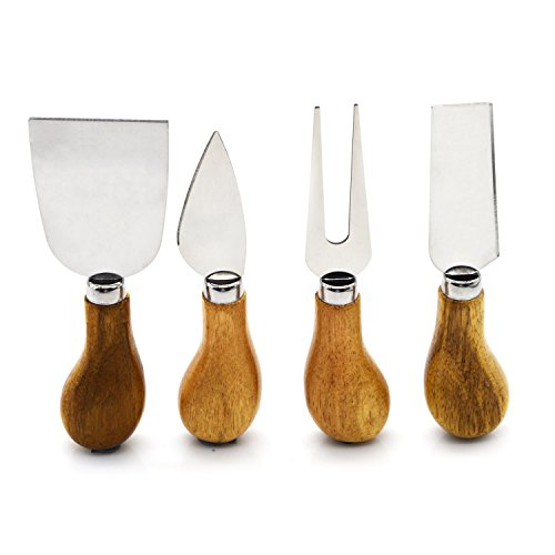 Freehawk 4 Pieces Set Cheese Knives with Bamboo Wood Handle Steel Stainless Cheese Slicer Cheese Cutter (Round Bamboo Handle) (Round Cheese Cutter compare prices)