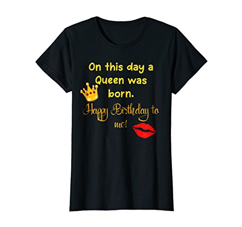 Womens A Queen Was Born Today Happy Birthday Crown Logo T-Shirt XL Black ()