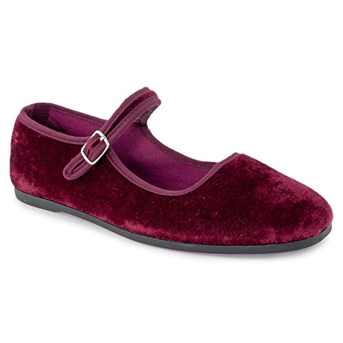 ROF Slip Flats On Casual Toe Dressy Women's Classic Wine Soft Comfort Ballet Velvet Pointed Vegan xFFwCYrq