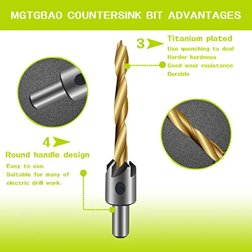 7PCS Countersink Drill Bit, Mgtgbao Titanium Plating Drill Bit Set Wood Drill Set Woodworking Countersink Chamfer, with One Hex Wrench for Wood Drilling or Woodworking Chamfer, 3-10mm Screw Size. by Mgtgbao (Image #3)