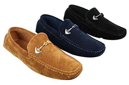Mens Slip On PU Suede Buckle Moccasins Loafers Deck Boat Shoes Smart Casual Tan-brown hBLPvdDDAT
