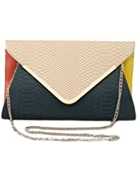 20295 NILA ANTHONY Multi colored envelop clutch with metal trim on fold over flap (Pink