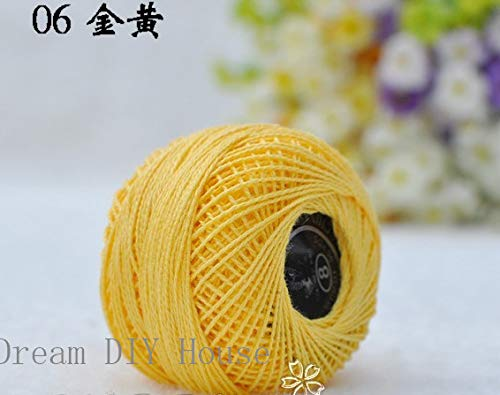 Maslin 10 Rolls Yellow Color 9s/2 100% Cotton Stitch Embroidery Thread Crochet Thread Hand Cross Embroidery Thread