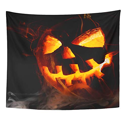 Emvency Tapestry Wall Hanging Polyester Fabric Yellow Party Halloween Old Jack O Lantern on Orange Evil Home Decor for Living Room Bedroom Dorm 50x60 Inches