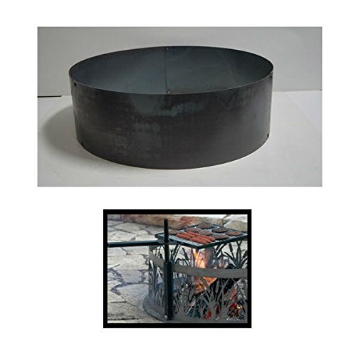 PD Metals Steel Campfire Fire Ring Solid Design - Unpainted - with Cooking Grill - Large 48 d x 12 h Plus Free eGuide by PD Metals
