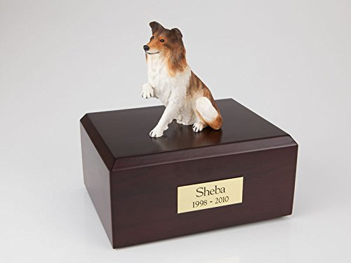 (Ever My Pet Genuine North American Hardwood and Collie Paw up Dog Figurine Urn Large)
