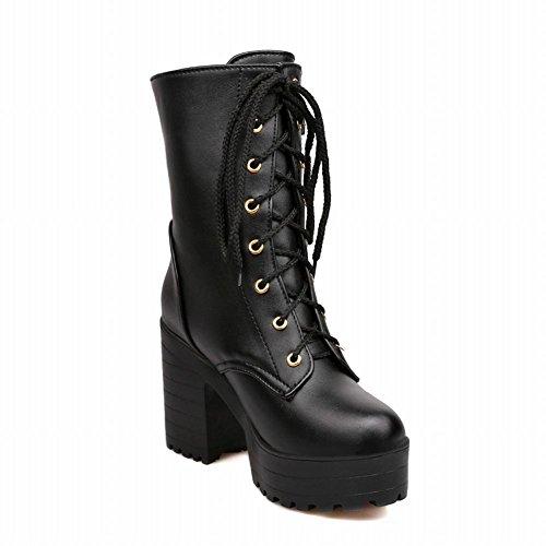 Martin Women's Carol Buckles Platform Shoes Black Boots Tqn7IOnw