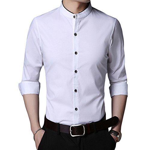 HiLY Men's Tuxedo Shirt Banded Collar Dress Shirt Slim Fit Long Sleeve Cotton Tuxedo Dress Shirts for Men White