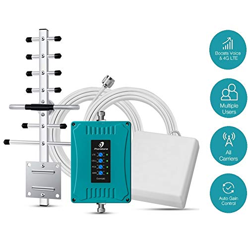 5-Band Cell Phone Signal Booster for Home and Office Use - Supports 4,500 Square Foot Area ()