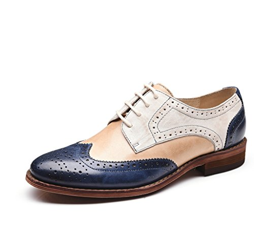 U-lite White Blue Perforated Brogue Wingtip Leather Flat Oxfords Vintage Oxford Shoes Women WB 6.5 ()