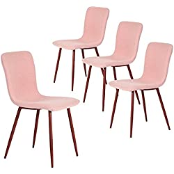 Coavas Set of 4 Kitchen Dining Side Chairs Fabric Cushion Chairs with Sturdy Metal Legs for Living Dining Room Table, Pink