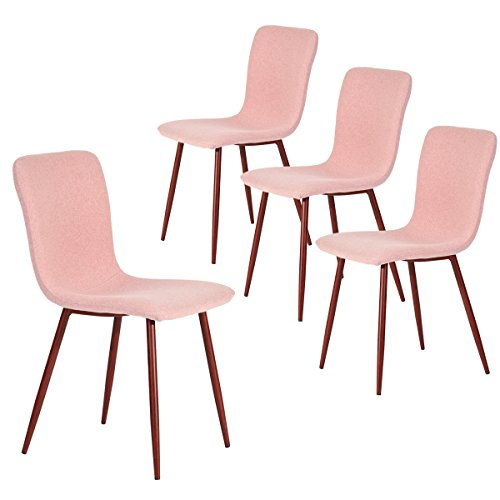 Coavas Set of 4 Dining Side Chairs Fabric Cushion Kitchen Chairs with Sturdy Metal Legs for Dining Room, Pink SCAR-17